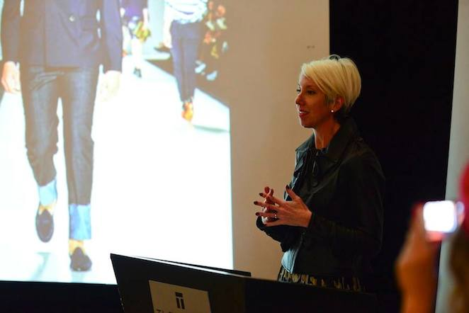Leesa Butler talking menswear at a FGI Toronto event.